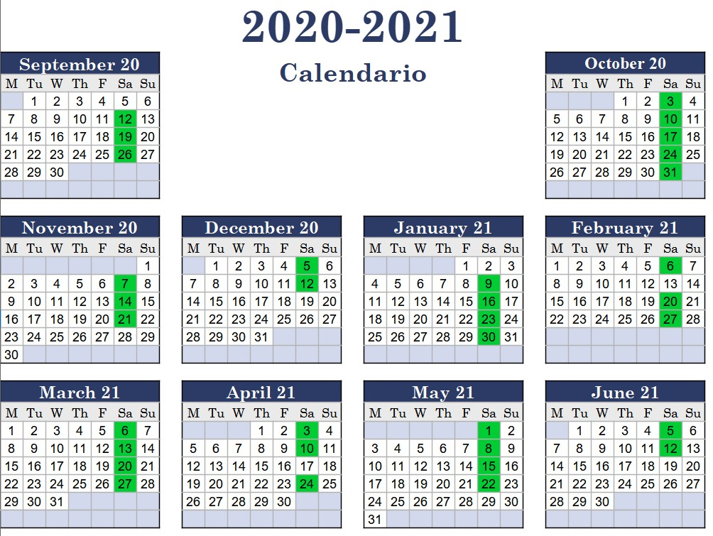 Calendario 2020 2021 Scuola PIB